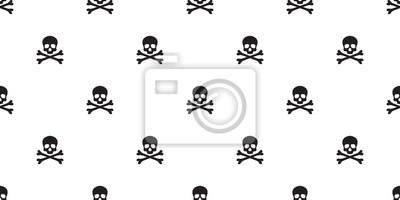 pirate skull seamless pattern bone Halloween isolated wallpaper background white