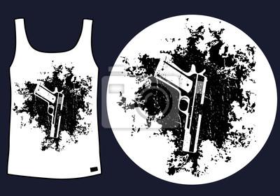 pistolet na tle grunge t-shirt projektowania