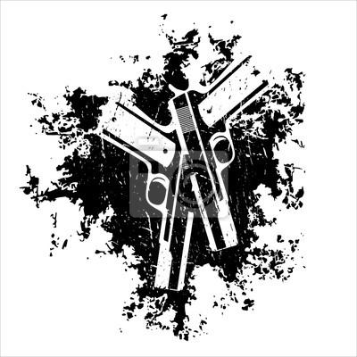pistolety na t-shirt ilustracji grunge wektora projektowania