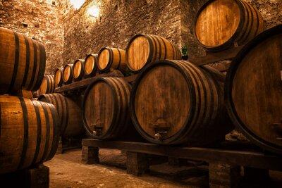 Plakat piwnicy z beczki do przechowywania wina, Włochy