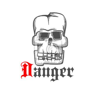 Plac ludzka czaszka symbol szkic grawerowania