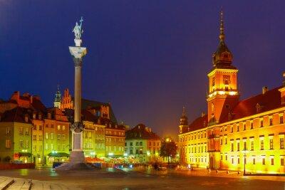Plakat Plac Zamkowy w nocy w Warszawie.