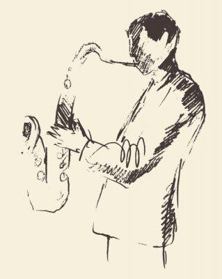 Plakat Plakat jazzowy saksofon muzyka consept akustyczna