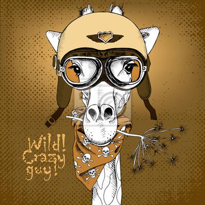 Plakat z portretem żyrafy noszenie kasku motocyklowego. ilustracji wektorowych.