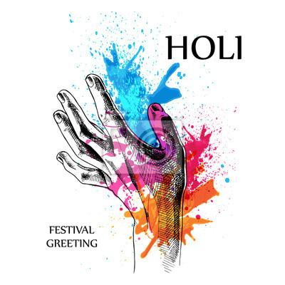 Plakat z wizerunkiem Holi rąk w kolorach. ilustracji wektorowych.
