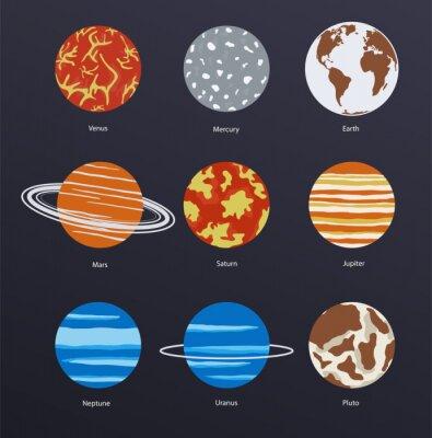 Plakat Planet ikony na ciemnym tle