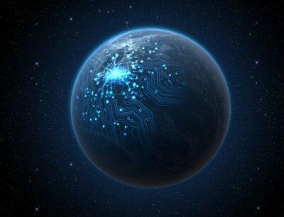 Plakat Planeta z podświetlanym Sieci