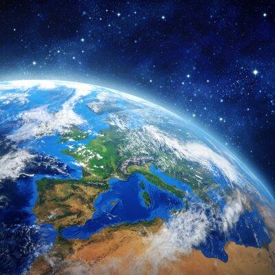 Plakat Planeta Ziemia w przestrzeni kosmicznej