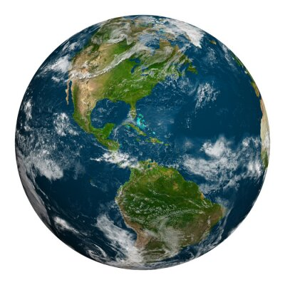 Plakat Planeta Ziemia z chmurami. Ameryka Północna i Południowa.