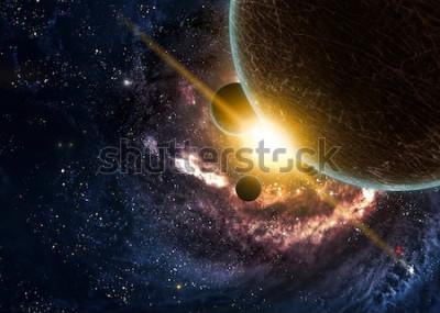 Plakat Planety nad mgławicami w przestrzeni