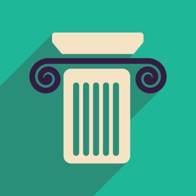 Plakat Płaski ikona internetowych z długimi kolumnie cienia