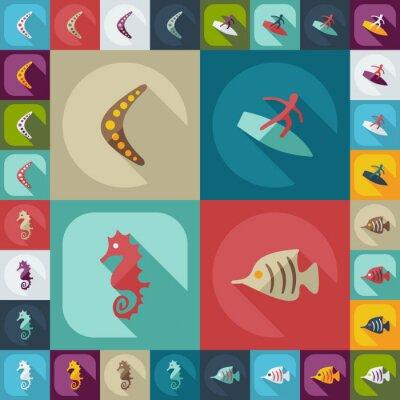 Plakat Płaski koncepcja ustaw nowoczesny design z avstralia cienia