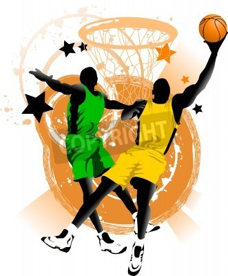 Plakat player in basketball at the background of basketball rings (vector);