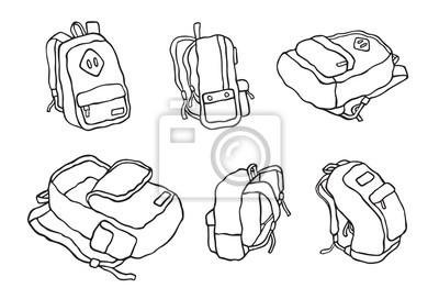 Plecak torby tornister doodle wektor kreskówka ilustracja kreskówka zestaw B