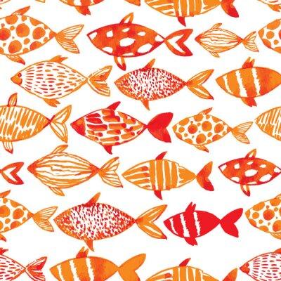 Plakat Płynnie płytki wzór ryb. ve