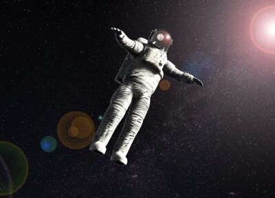 Plakat pływających astronautów w przestrzeni ze słońcem