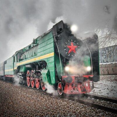 Plakat Pociąg pasażerski retro pary idzie szybko.