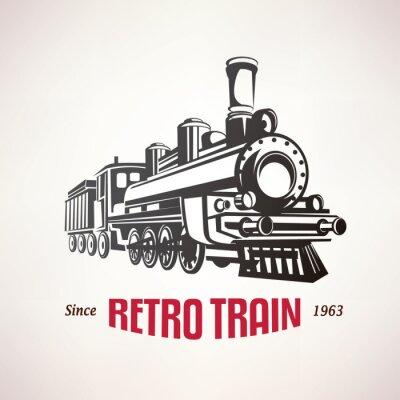 Plakat Pociąg retro, vintage, vector, Symbol, emblemat, szablon etykiety
