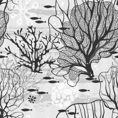 Plakat Podmorski świat. Wektor bez szwu deseń z roślin morskich i ryb