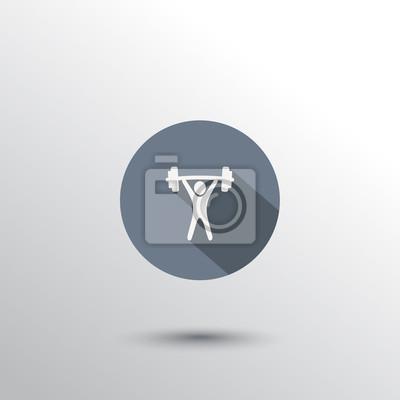 podnoszenie ciężarów płaskim ikona ilustracji wektorowych, eps10, łatwe do edycji