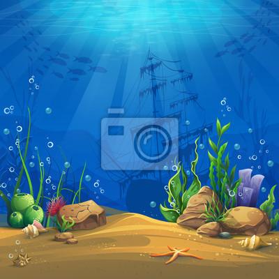 Plakat Podwodny świat ilustracji wektorowych tle