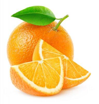 Plakat Pojedyncze pomarańczowe owoce i plastry