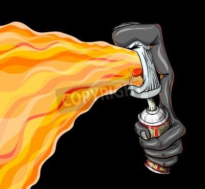 Plakat Pojemnik graffiti farby ognia w rozpylaczu.