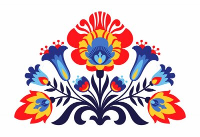 Plakat Polish Folk inspirowane kwiatami