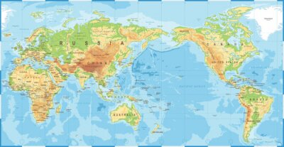 Plakat Political Physical Topographic Colored World Map Pacific Centered