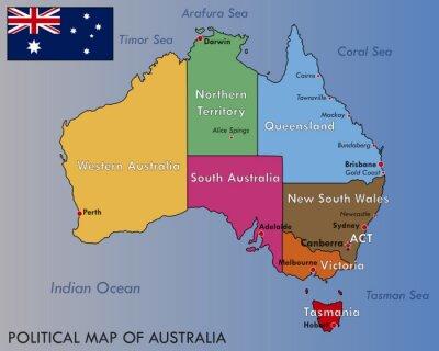 Plakat Polityczna mapa Australii