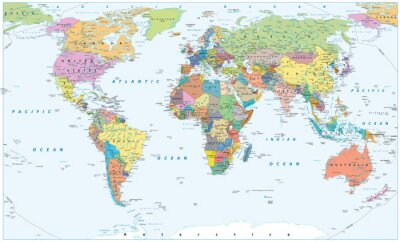 Plakat Polityczna mapa świata - granice, kraje i miasta