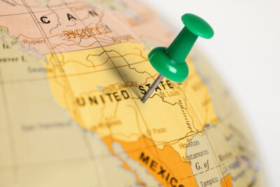 Plakat Położenie Stany Zjednoczone. Zielony pin na mapie.