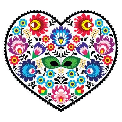Plakat Polska sztuka ludowa sztuka serce z kwiatów - Wzory łowickie