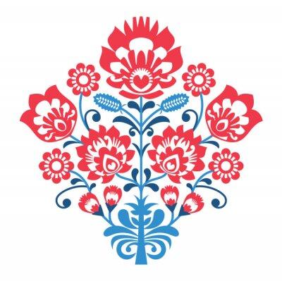 Plakat Polska sztuka ludowa wzór z kwiatami - Wzory łowickie, wycinanka