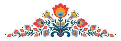 Plakat Polski folk Papercut stylu kwiaty