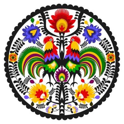 Plakat Polski folklor - okrągły wzór ludowy