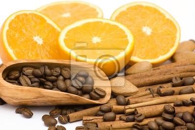 Plakat pomarańczowy, kawa, cynamon i migdały