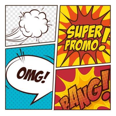 Plakat Pop-artu komiks pęcherzyki projekt