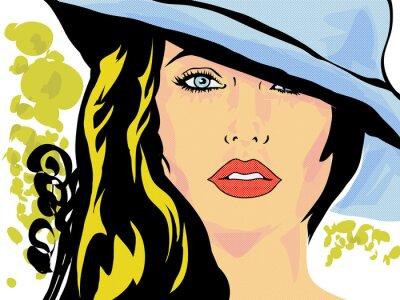 Plakat pop femme chapeau twarz, tête
