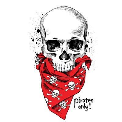 Portrait of a skull wearing a red bandana with images of a skull. Vector illustration.