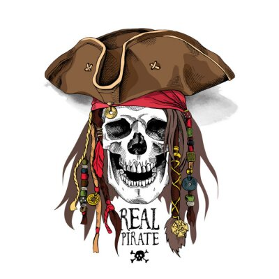 Portrait of a Smile Skull in Pirate hat, bandana and with a dreadlocks. Vector illustration.