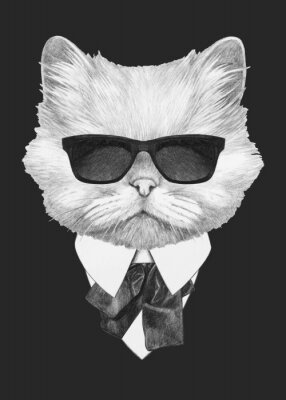 Plakat Portrait of Persian Cat in suit. Hand-drawn illustration. Vector isolated elements.
