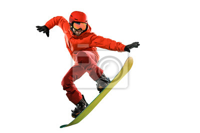 Plakat Portrait of young man in sportswear with snowboard isolated on a white studio background. The winter, sport, snowboarding, snowboarder, activity, extreme concept