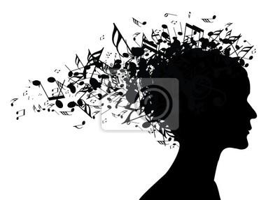 Plakat Portret Kobiety Sylwetka Muzyka