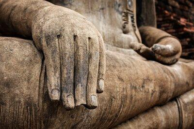 Plakat Posąg Buddy ręcznie zamknąć szczegółów