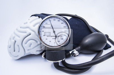Plakat Postać ludzkiego mózgu zapakowana ciśnieniomierza mankiet z żarówką (gruszki) i wybierz pokazując wysokie ciśnienie krwi. Koncepcja wysokiej mózgu lub zwiększone (podniesione) ciśnienie śródczaszkowe
