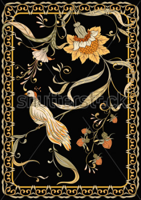 Plakat Poster, background with flowers and bird in art nouveau style, vintage, old, retro style. Stock vector illustration. On black background.