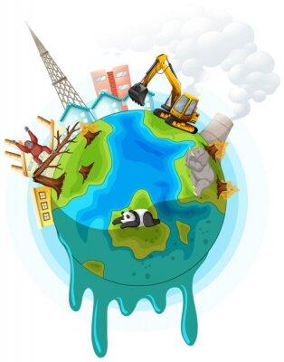 Plakat Poster design with global warming problem