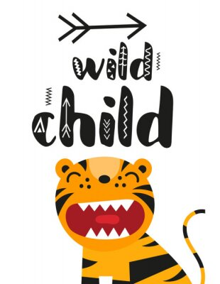 Plakat Poster for nursery scandi design with cute roar tiger and text Wild child in Scandinavian style. Vector Illustration. Kids illustration for baby clothes, greeting card, wrapper.