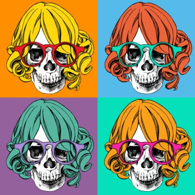 Poster with a portrait of skull wearing wig and glasses in pop art style. Vector illustration.